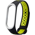 Ремешок UWatch Double Color nike silicone for Mi Band 3/4 Black/Green