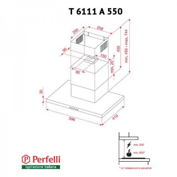 Вытяжка Perfelli T 6111 A 550 BL