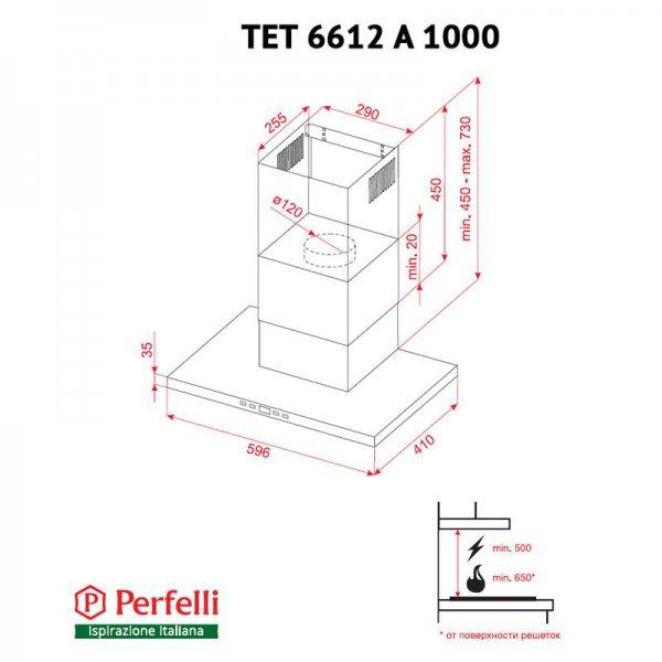 Вытяжка Perfelli TET 6612 A 1000 W LED