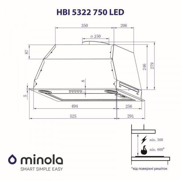 Вытяжка Minola HBI 5322 BL 750 LED