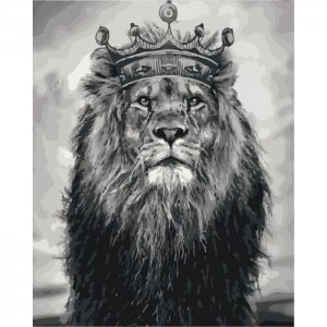 """Картина по номерам. Животные, птицы """"Король Лев"""" 40*50см KHO4079"""