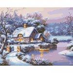 """Картина по номерам. Сельский пейзаж """"Сказочная зима"""" 40*50см KHO2248"""