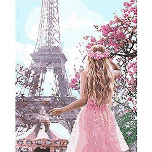 "Картина по номерам. Люди ""Влюблённая в Париж 2"" 40*50см KHO4568"