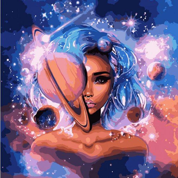 """Картина по номерам. Зодиак """"Владычица вселенной 2 с металлической краской"""" 50*50см KHO9538"""