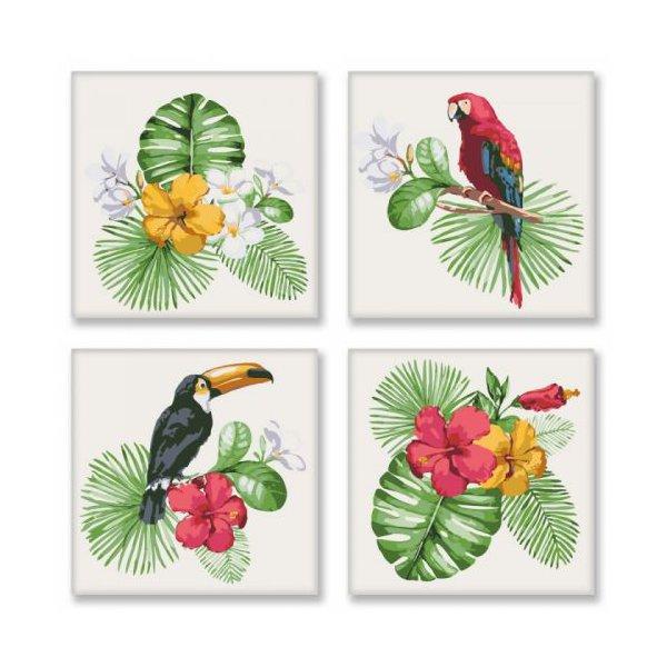 """Картина по номерам """"Полиптих: Тропическое разнообразие"""" ★★★★"""