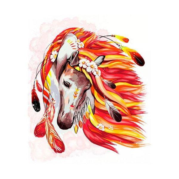 """Картина по номерам """"Огненная лошадь"""" рус"""