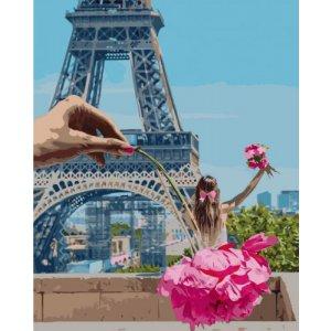 """Картина по номерам """"Девочка в Париже"""" ★★★★★"""