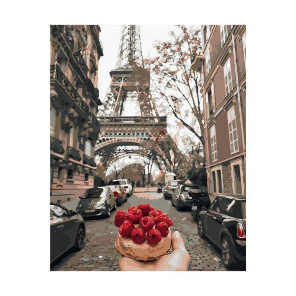 """Картина по номерам """"Кекс с малиной на фоне Эйфелевой башни"""" ★★★★★"""