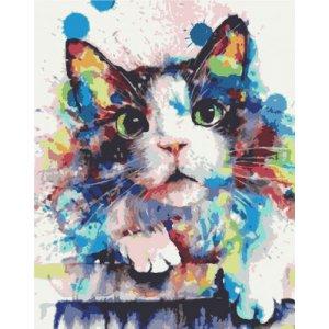 """Картина по номерам """"Цветной котик"""""""