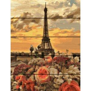 """Картина по номерам на дереве """"Закат в Париже"""""""