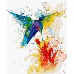 """Картина по номерам """"Разноцветный колибри"""" ★★★★"""