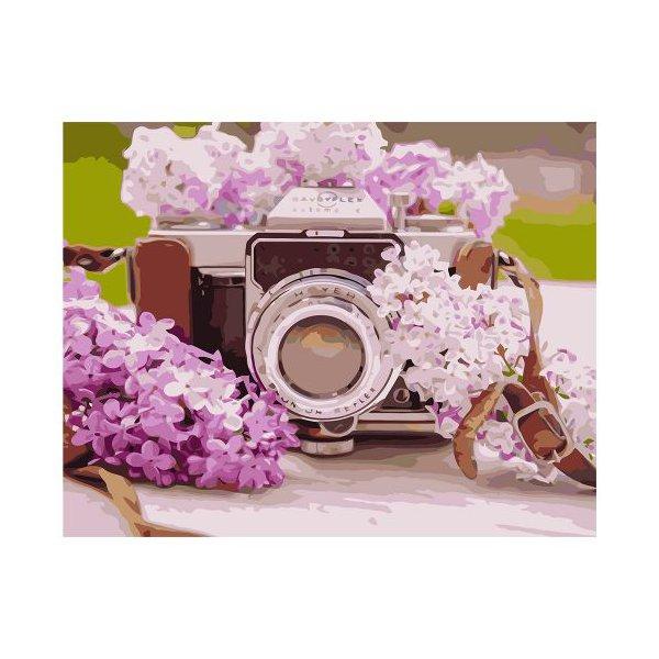 "Картина по номерам ""Фотоаппарат с сиренью"" ★★★★"