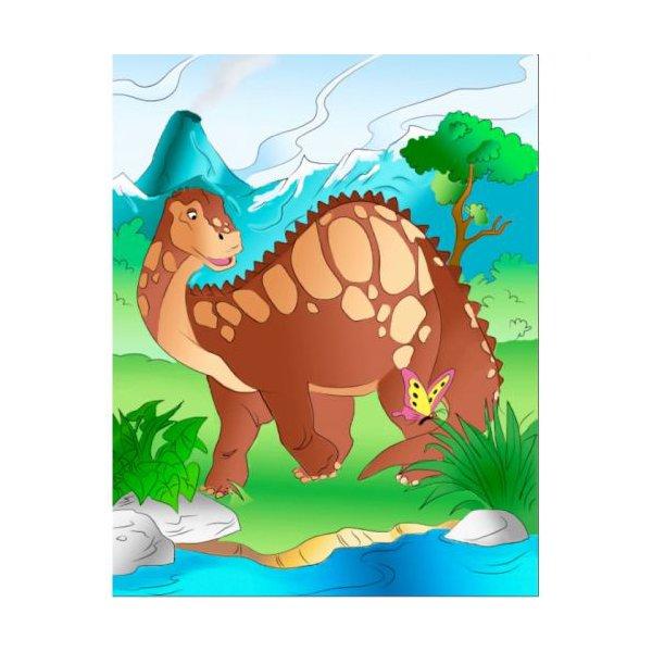 """Роспись по холсту """"Добрый динозавр"""""""