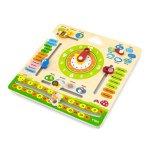 Деревянный календарь Viga Toys с часами, на английском языке (44538)