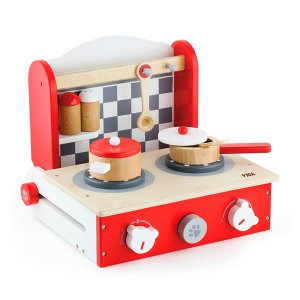 Детская плита Viga Toys с посудой, складная (50232)