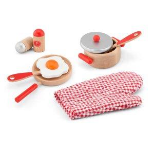 Дитячий кухонний набір Viga Toys Іграшковий посуд із дерева, червоний (50721)