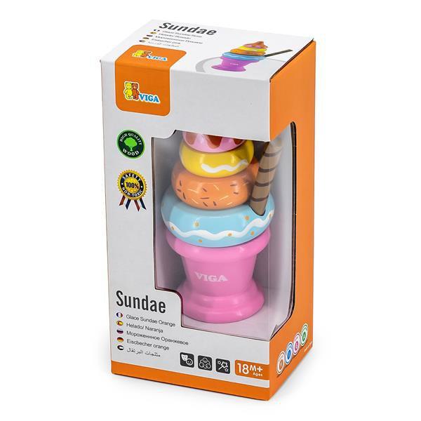 Игрушечные продукты Viga Toys Деревянная пирамидка-мороженое, розовый (51321)