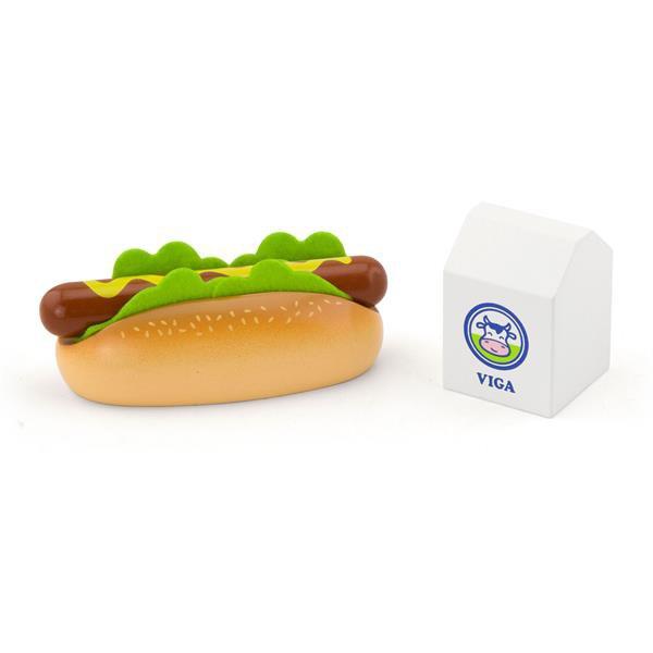 Игрушечные продукты Viga Toys Деревянные хот-дог и молоко (51601)