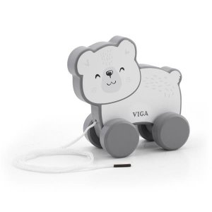 Деревянная каталка Viga Toys PolarB Белый мишка (44001)