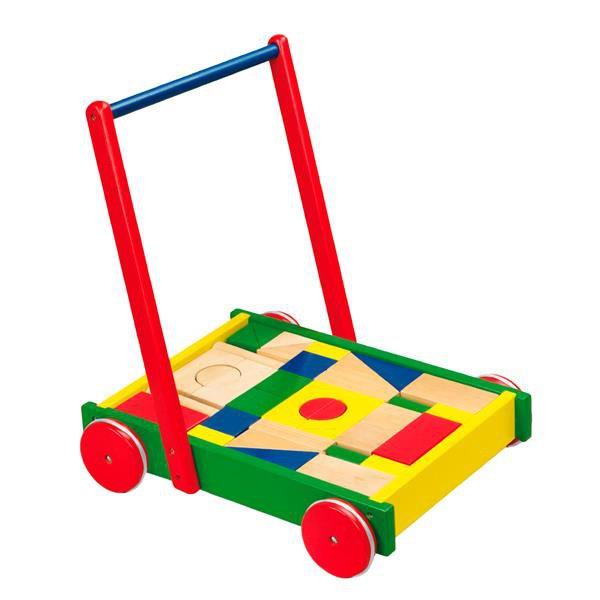 Детские ходунки-каталка Viga Toys Тележка с кубиками (50306B)