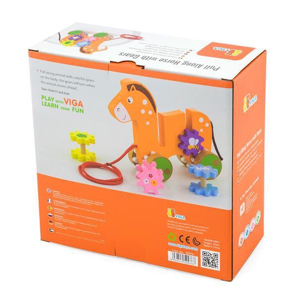 Дерев'яна каталка Viga Toys Коник із шестерінками (50976)