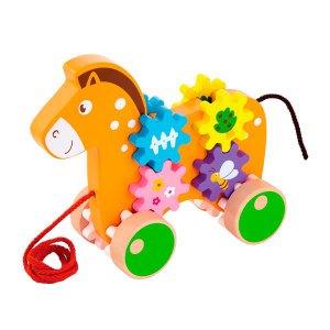 Деревянная каталка Viga Toys Лошадка с шестеренками (50976)