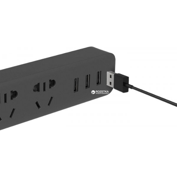 Удлинитель Xiaomi Mi Power Strip 3 Sockets/3 USB ports Black