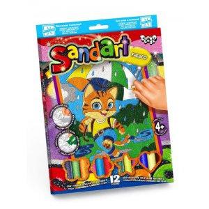 """Фреска из цветного песка """"Sandart"""" Рыжий котик"""