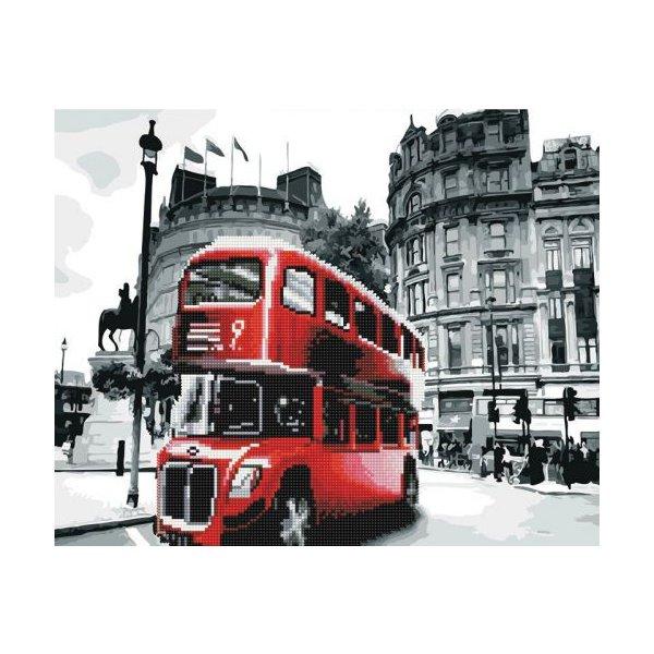 """Картина по номерам + Алмазная мозаика """"Лондонский автобус"""" ★★★★"""