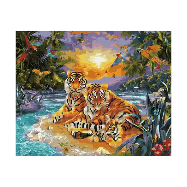 """Картина по номерам + Алмазная мозаика """"Семья тигров"""" ★★★★"""