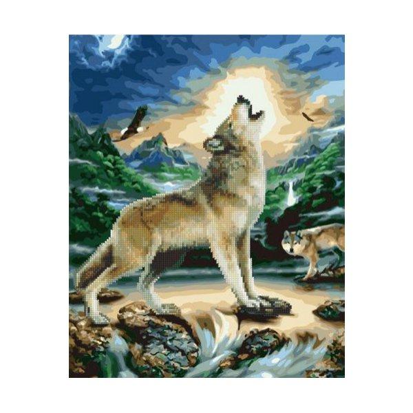 "Картина по номерам + Алмазная мозаика ""Волк при луне"" ★★★★"