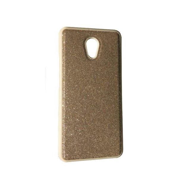 Чехол силикон блестки Meizu M6 Note Gold