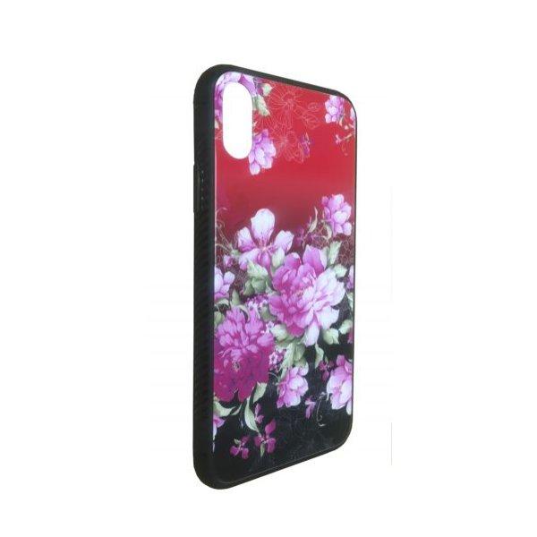 Чехол - накладка Glass TPU plusPC для Xiaomi Redmi Note 6 Pro Flowers Clear