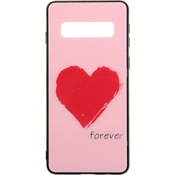 Чехол-накладка TOTO Tempered Glass Phone Case Fashionable для Samsung Galaxy S10 Red Heart on Pink