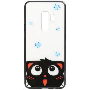 Чехол-накладка TOTO Cartoon Print Glass Case для Samsung Galaxy S9+ Cat and fish