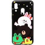 Чехол-накладка TOTO Cartoon Print Glass Case для Samsung Galaxy A40 Line friends all about