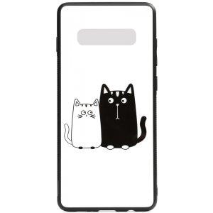 Чехол-накладка TOTO Cartoon Print Glass Case для Samsung Galaxy S10 Cats White/Black
