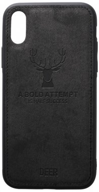 apple black case chehol deer effect iphone leather nakladka shell toto with xsmax