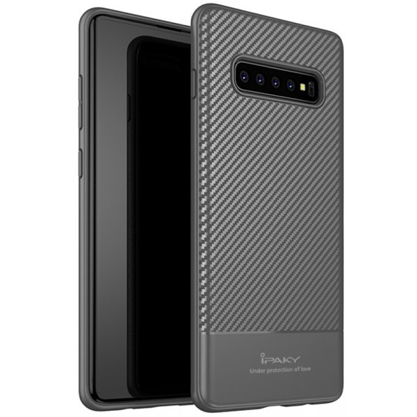 Чехол-накладка Ipaky Carbon Fiber Series/TPU Case With Samsung Galaxy S10 Gray