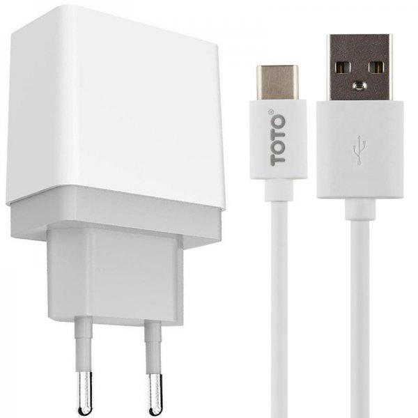 Сетевое зарядное устройство GOLF GF-U2 Travel charger + Type-C cable 2USB 2.1A White