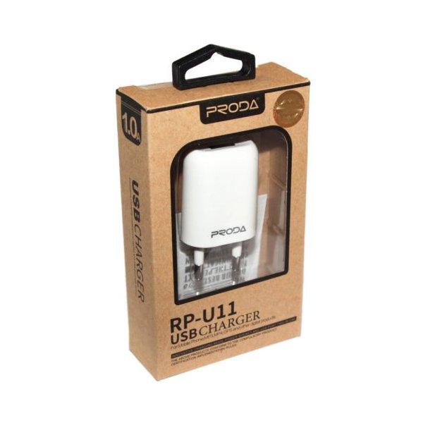 Сетевое зарядное устройство Remax Proda RP-U11 + cable Micro 1-Port USB 1.0A White
