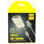 Сетевое зарядное устройство AWEI C-832 Travel charger + Lightning cable 1USB 2.1A Black