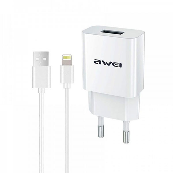 Сетевое зарядное устройство AWEI C-832 Travel charger + Lightning cable 1USB 2.1A White