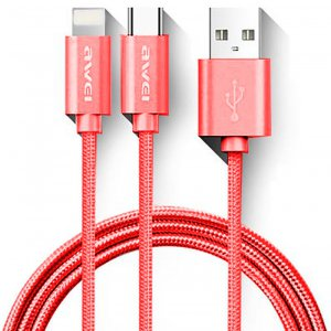 Кабель AWEI CL-984 2in1 cable 1m Red