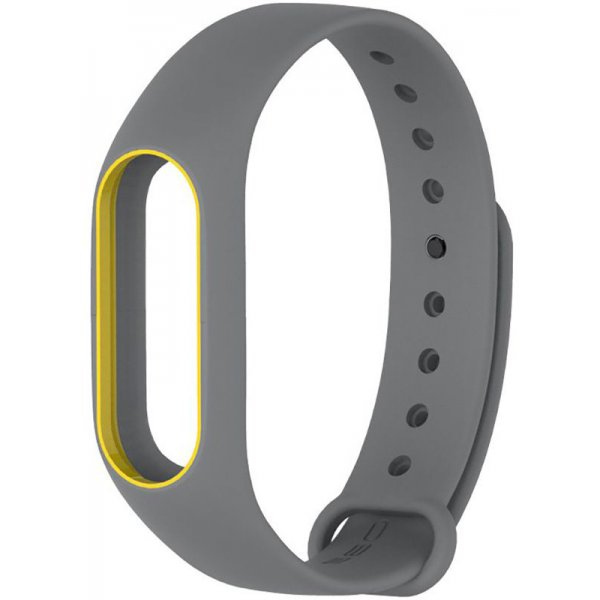 Ремешок UWatch Double Color Replacement Silicone Band For Xiaomi Mi Band 2 Grey/Yellow Line