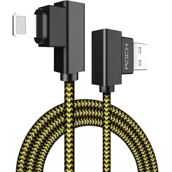 Кабель Rock Dual-end L-shape Lightning Data Cable 1M Yellow