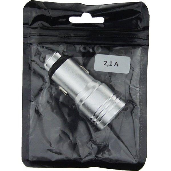 Автомобильное зарядное устройство TOTO TZZ-55 Car charger 2USB 2,1A Silver