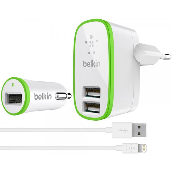 Сетевое зарядное устройство Belkin Travel charger 2USB 2.1A + Car charger 1USB 2.1A + Lightning cable White