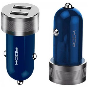 Автомобильное зарядное устройство Rock Sitor Plus Car charger 2USB 2,4 A Blue