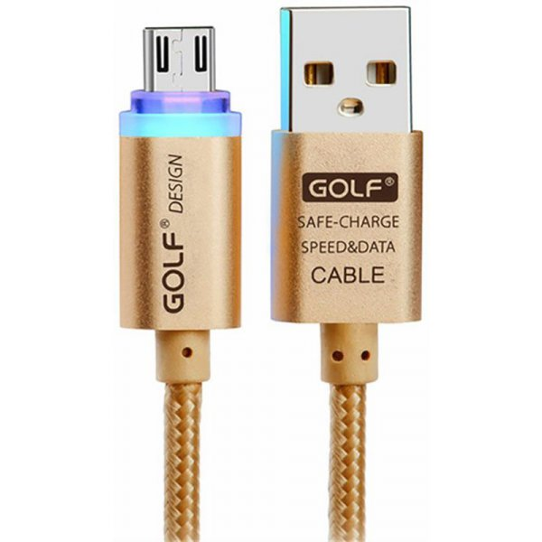 Кабель GOLF GC-12M Braided with LED Micro cable 1m Gold